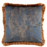 CUSHION COVER ASHBY WITH FRINGES 45X45CM BLUE