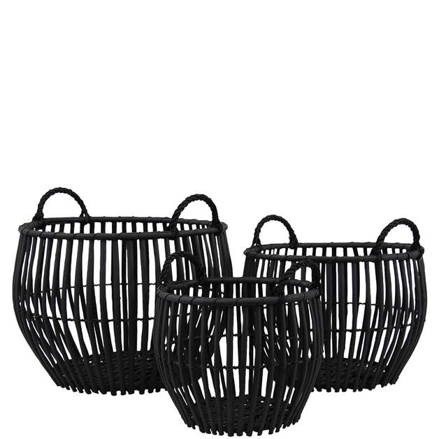 BASKET WILLOW 3/SET ROUND W HANDLE BLACK i gruppen Dekoration / Korgar & Kransar hos Miljögården (097385)