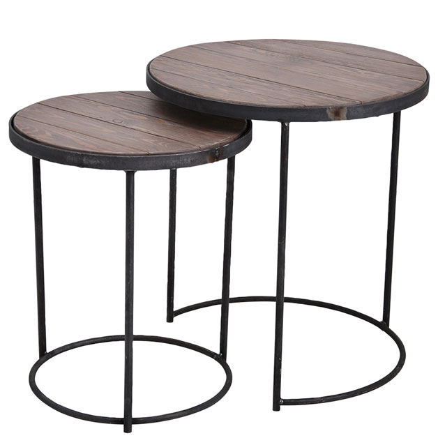SIDE TABLE LA CUISINE SET OF 2 VINTAGE GREY i gruppen Möbler / Bord hos Miljögården (426801)