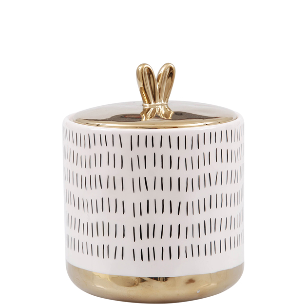 white golden jar large