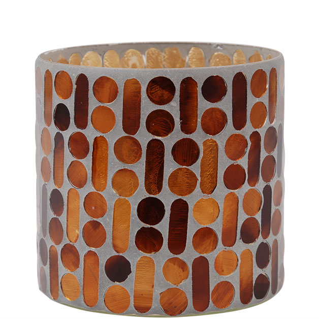 CANDLE HOLDER MOSAIC BROWN LARGE i gruppen Dekoration / Ljuslyktor hos Miljögården (560116)