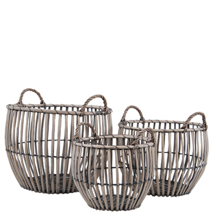 BASKET WILLOW 3/SET ROUND W HANDLE NATURE
