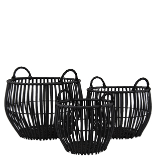 BASKET WILLOW 3/SET ROUND W HANDLE BLACK