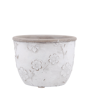 POT FLOWERS 11,4CM WHITE