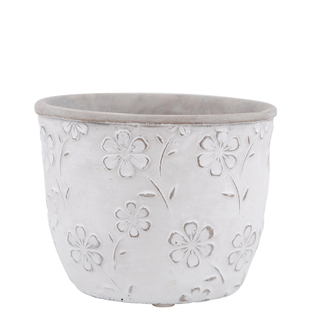 POT FLOWERS 13,4CM WHITE