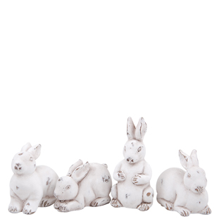 DECORATION RABBITS 4ASS WHITE