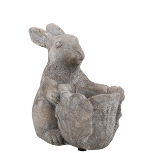 POT STANDING BUNNY SMALL GREY