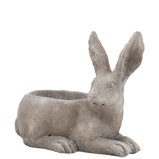 POT LAYING BUNNY GREY