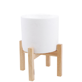 POT ON STAND DAG SMALL Ø19CM WHITE