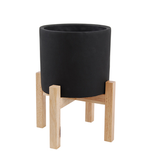 POT ON STAND BLACK SMALL