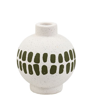 CANDLE HOLDER KLANG SMALL GREEN/WHITE