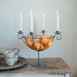 CANDLE HOLDER BASKET FORGED