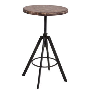 BAR TABLE HELLS KITCHEN VINTAGE BROWN