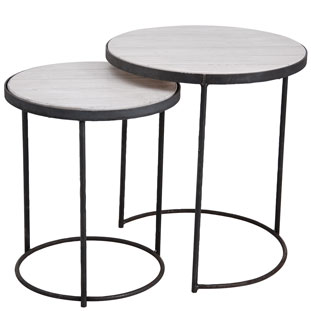 SIDE TABLE LA CUISINE SET OF 2 WHITE