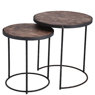 SIDE TABLE LA CUISINE SET OF 2 VINTAGE BROWN