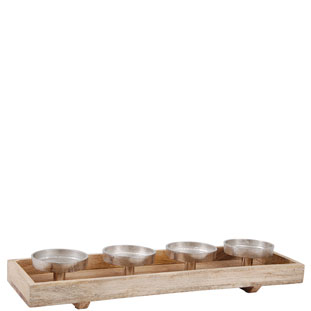 TRAY WITH 4 CANDLE HOLDERS