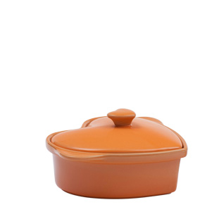 OVENWARE HEART WITH LID ORANGE