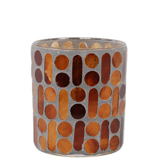CANDLE HOLDER MOSAIC BROWN SMALL