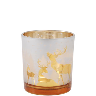 CHANDLE HOLDER CHRISTMAS SMALL GOLD