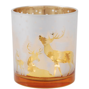 CANDLE HOLDER CHRISTMAS LARGE GOLD