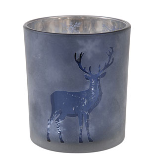 CANDLE HOLDER CERF LARGE BLUE