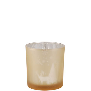 CANDLE HOLDER SNOWFALL SMALL GOLD