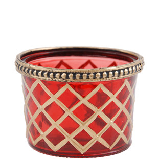CANDLE HOLDER GOLDEN CHECKS RED