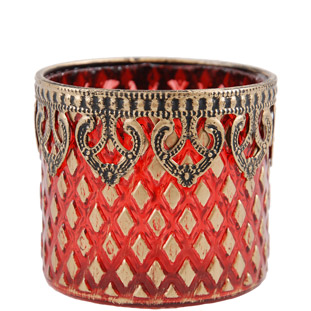 CANDLE HOLDER GOLDEN LACE CYLINDER RED