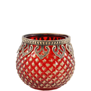 CANDLE HOLDER GOLDEN LACE ROUND RED