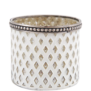 CANDLE HOLDER DIAMOND SILVER EDGE