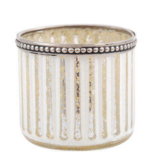 CANDLE HOLDER STRIPE SILVER EDGE