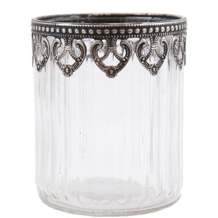 CANDLE HOLDER SILVER LACE