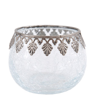 CANDLE HOLDER SILVER DIAMOND EDGE SMALL