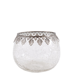 CANDLE HOLDER SILVER DIAMOND EDGE LARGE