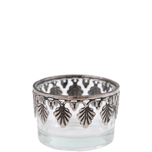 CANDLE HOLDER SILVER LEAF EDGE