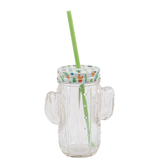 JAR WITH STRAW CACTUS