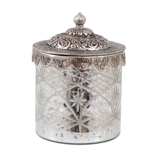 GLASS JAR SILVER LID MEDIUM