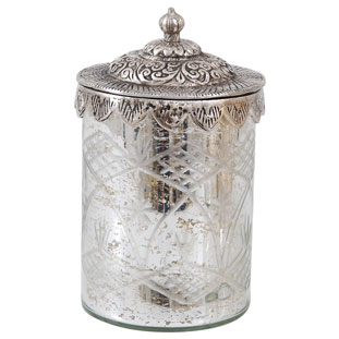 GLASS JAR SILVER LID LARGE