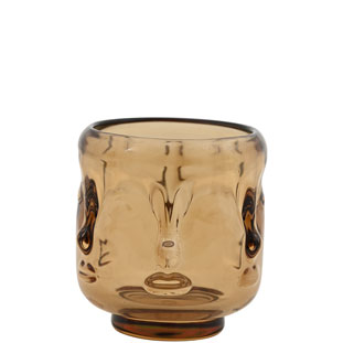 CANDLE HOLDER VISAGE AMBER SMALL
