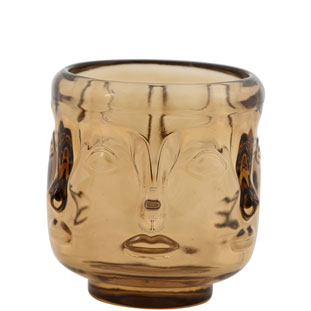 CANDLE HOLDER VISAGE LARGE AMBER