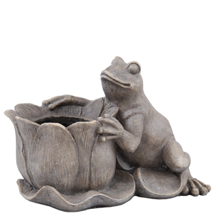 SITTING FROG WITH POT GREY