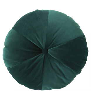 CUSHION ROUND VELVET DIA 50CM DARK GREEN