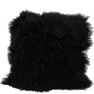 CUSHION COVER FURRY 40X40 BLACK