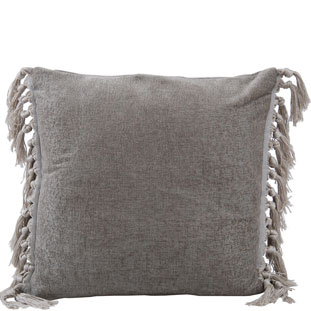 CUSHION COVER FRINGES 45X45CM GREY