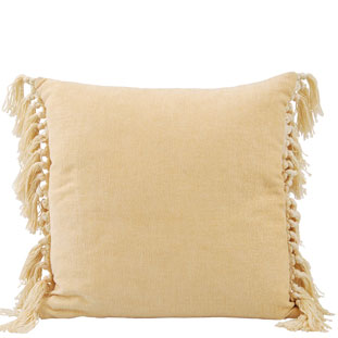 CUSHION COVER FRINGES 45X45CM LIGHT YELLOW