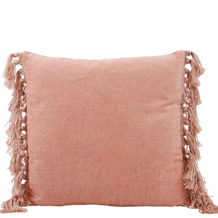 CUSHION COVER FRINGES 45X45CM VINTAGE PINK