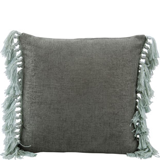CUSHION COVER FRINGES 45X45CM GREEN
