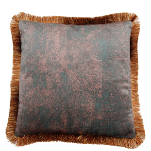 CUSHION COVER ASHBY WITH FRINGES 45X45CM GREEN