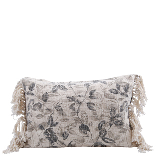 CUSHION COVER LEAFS 40X60CM GREY/CREAM