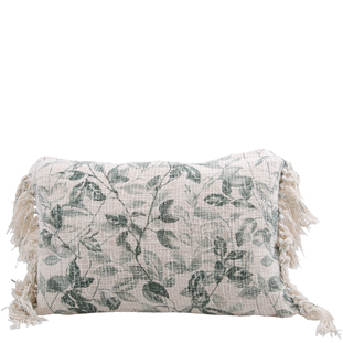CUSHION COVER LEAFS 40X60CM GREEN/NATURAL